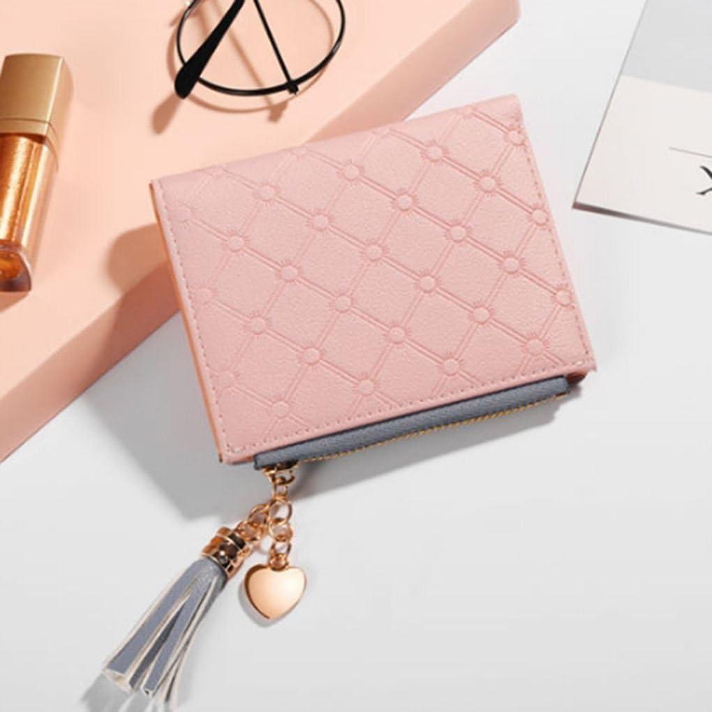 Xuanhemen Tassel Short Lady Wallet Heart Shape Metal Decoration PU Leather Women Purse Credit Card Cash Holder Girl Coin Bag