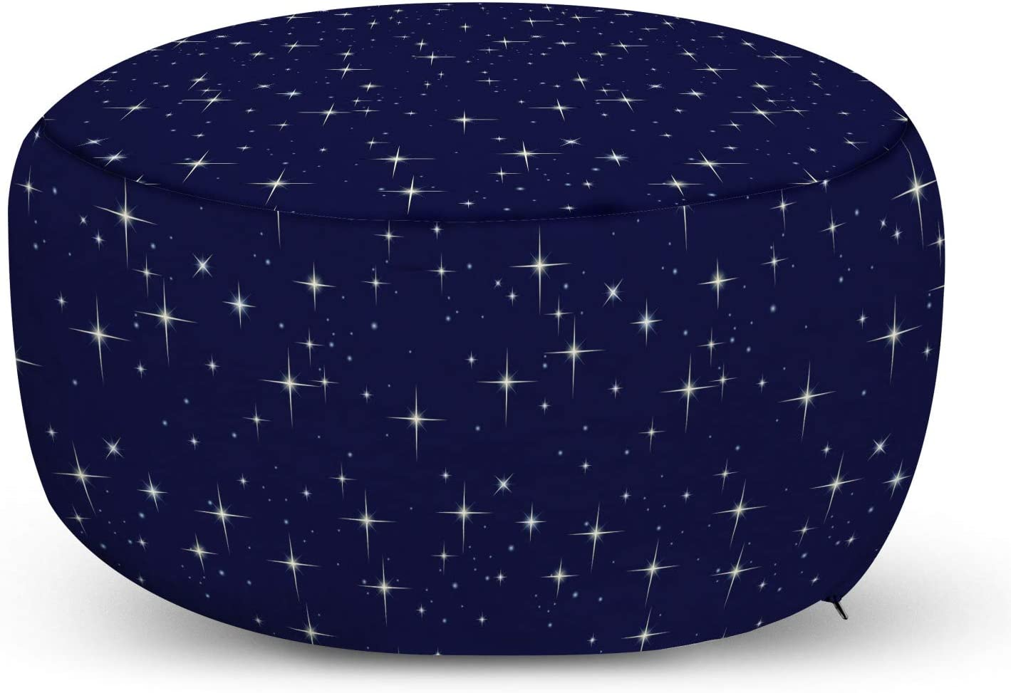 Ambesonne Space Ottoman Pouf Decorative Soft Foot Rest with Removable Cover Living Room and Bedroom Night Sky Stars Romantic Cosmos Themed Image Dotted Background Constellation Purple White