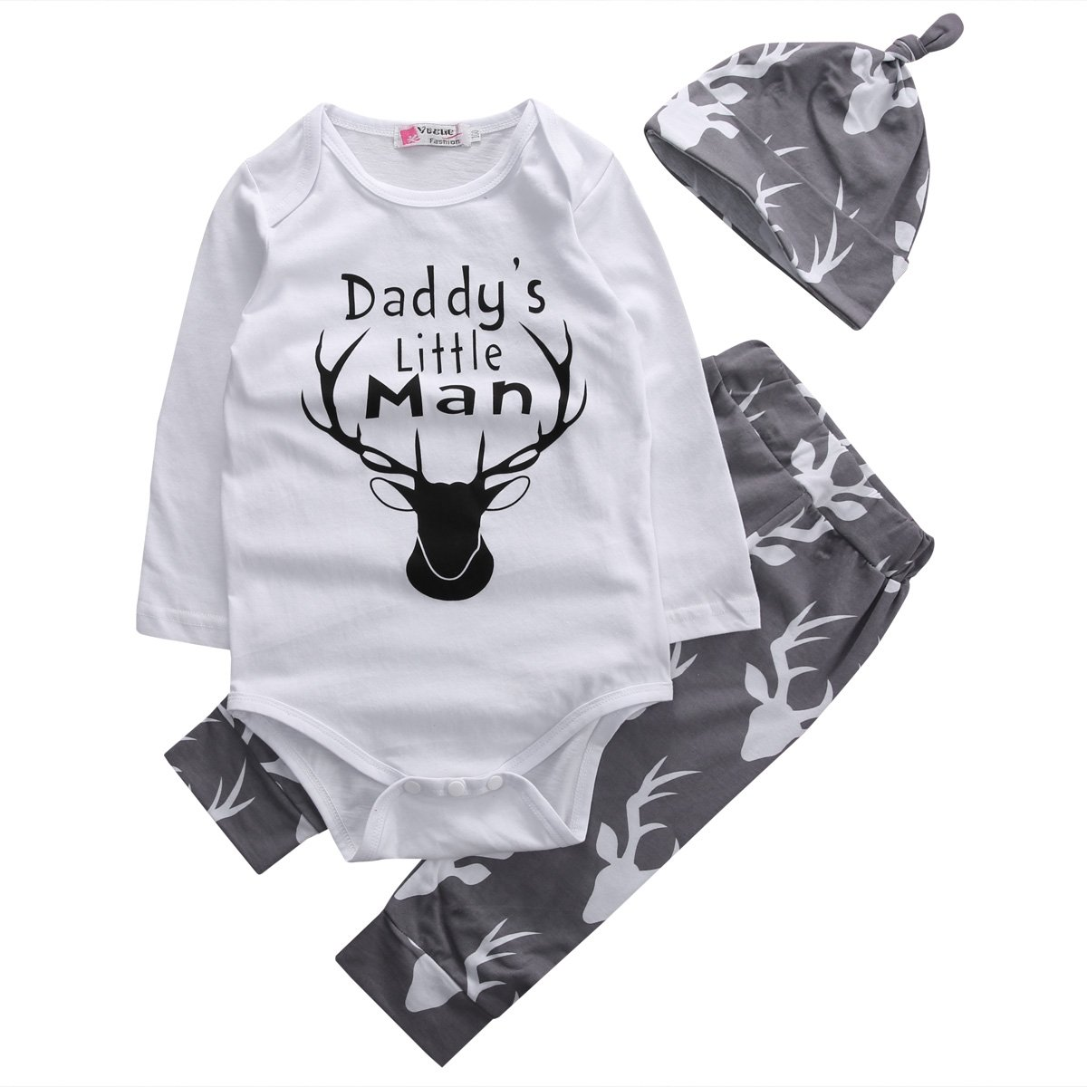 Baby Boys Daddy's Little Man Long Sleeve Bodysuit and Deer Pants Outfit With Hat