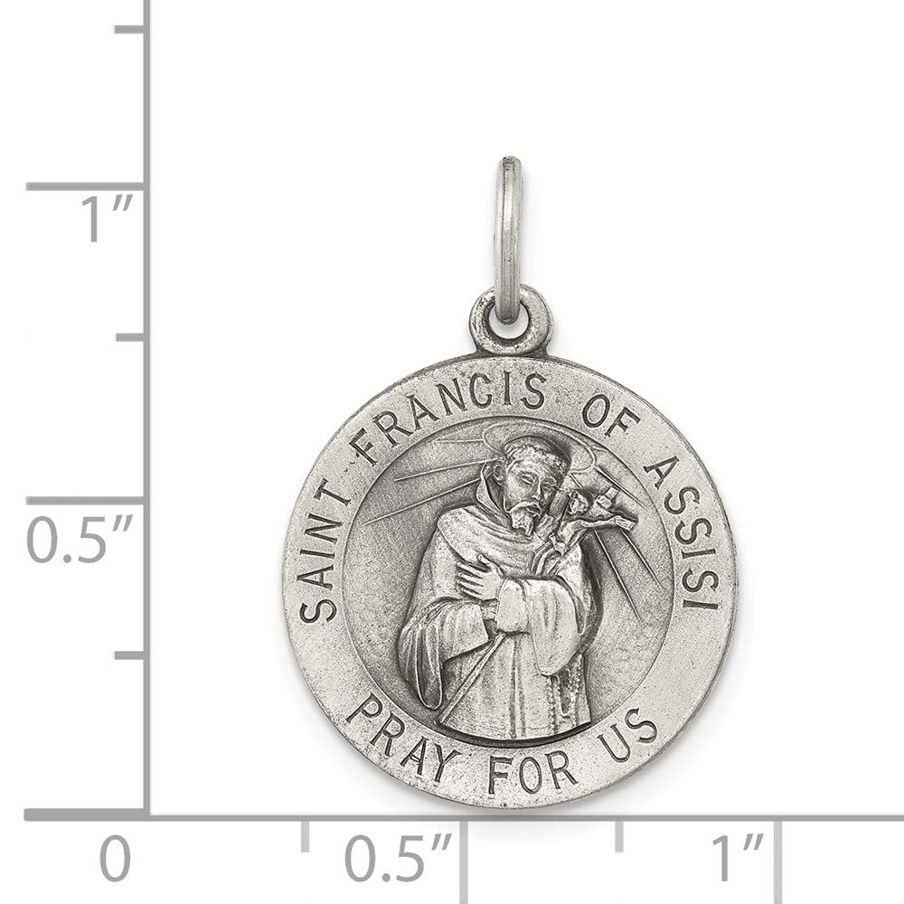 25mm x 20mm Mia Diamonds 925 Sterling Silver Solid Antiqued Saint Francis Of Assisi Medal