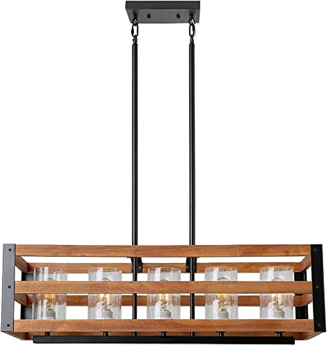 Eumyviv C0028 5-Lights Rectangle Three Tiers Wood Metal Pendant Lamp