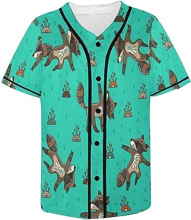 INTERESTPRINT Mens Button Down Baseball Jersey Cute Dinosaurs