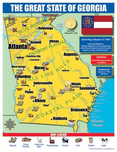 Georgia Map For Kids.Amazon Com Gallopade Publishing Group Georgia State Map For