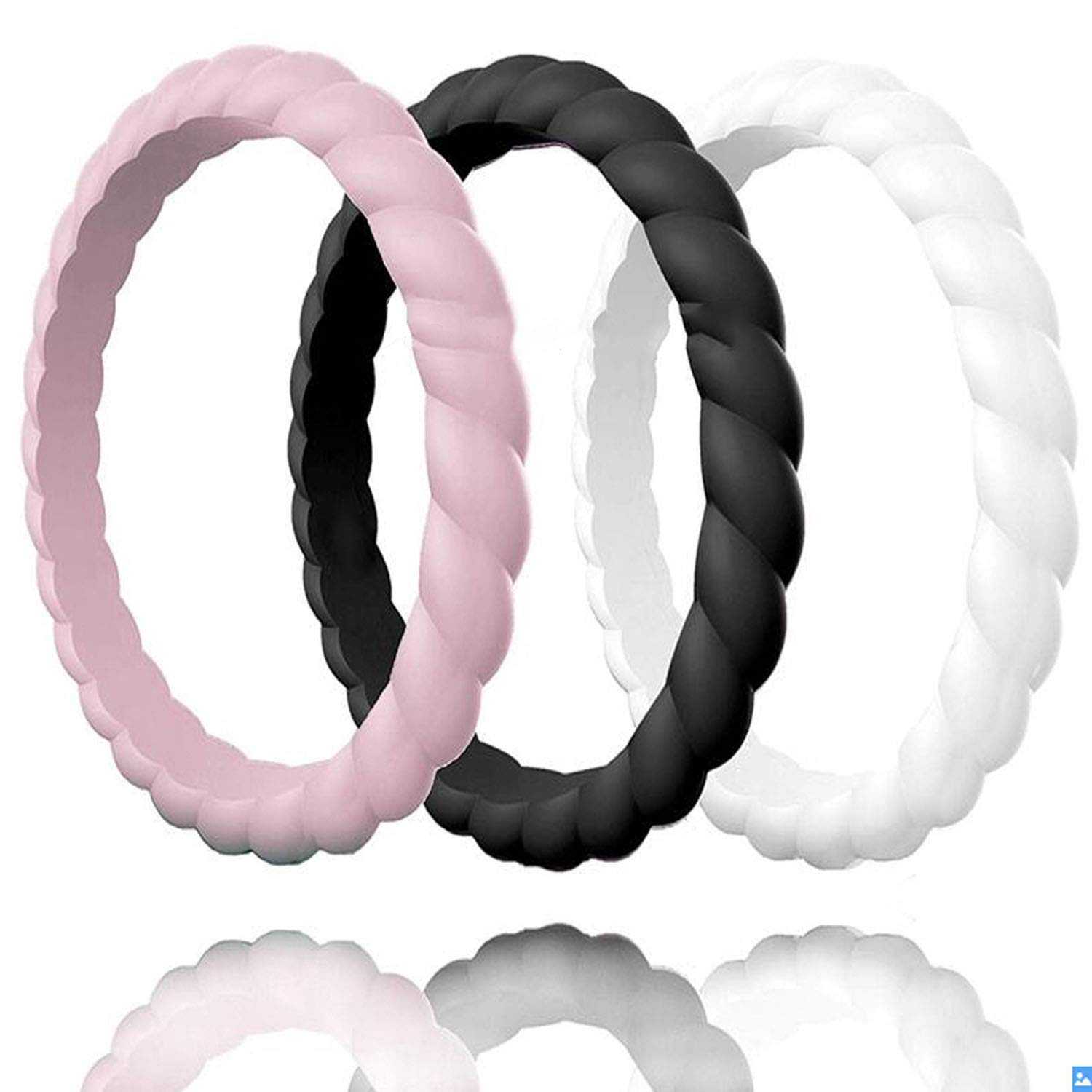 Ytb-home Silicone Rings Thin And Braided Hypoallergenic Flexible Twist Rubber Finger Ring For Women Wedding Rings,7,Gold