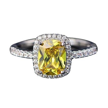 Elegante anillo cuadrado con piedras de imitación incrustadas, anillo de compromiso, anillo de propuesta