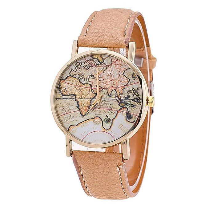 Bestow Reloj de Pulsera de Cuarzo Analšgico con Correa de Cuero y Mapa Mundial de Mujer: Amazon.es: Ropa y accesorios