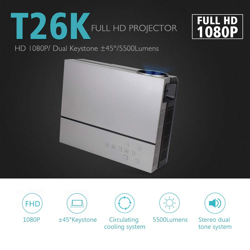 TONGTONG Full HD proyector 1080P 5500 lúmenes Video LED LCD Home ...
