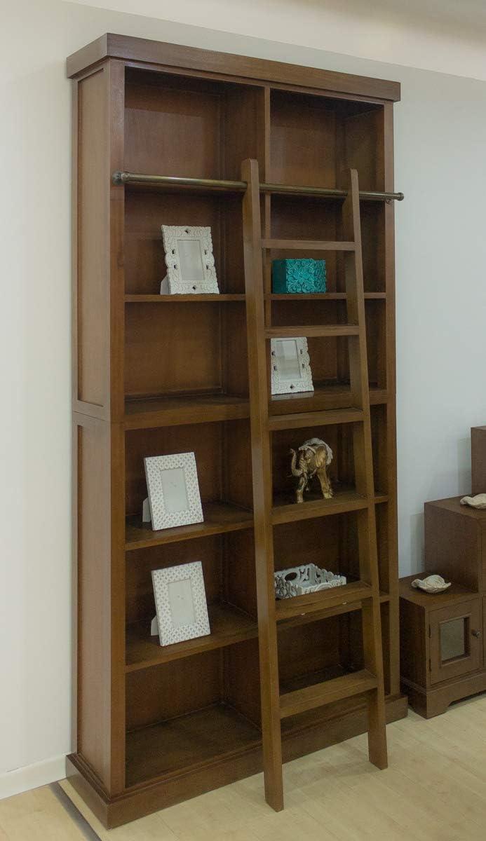 Rococo Librería Caoba Solbi de 121x235cm (con Escalera Decorativa): Amazon.es: Hogar