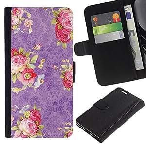 UberTech / Apple Iphone 6 PLUS 5.5 / Purple Pink Roses Wallpaper Retro Vintage / Cuero PU Delgado caso Billetera cubierta Shell Armor Funda Case Cover Wallet Credit Card