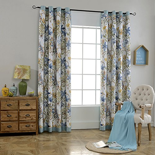 Foulola Linen Eco-Friendly Blackout Thermal Insulated Grommet Window Curtain Panels Floral Two Side Reversible, 1 Pair (5296, 8801 BLUE)
