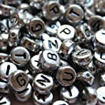 300 Alphabet Letter Round Plastic Metal Beads by Curtzy TM