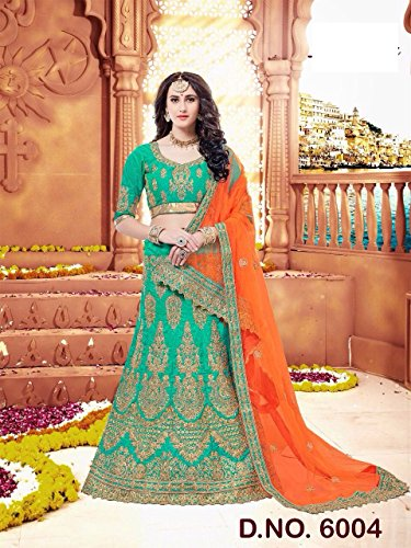 Green Silk Roter Samt schwere Stickerei Lehenga Choli Rock Top Offer ...