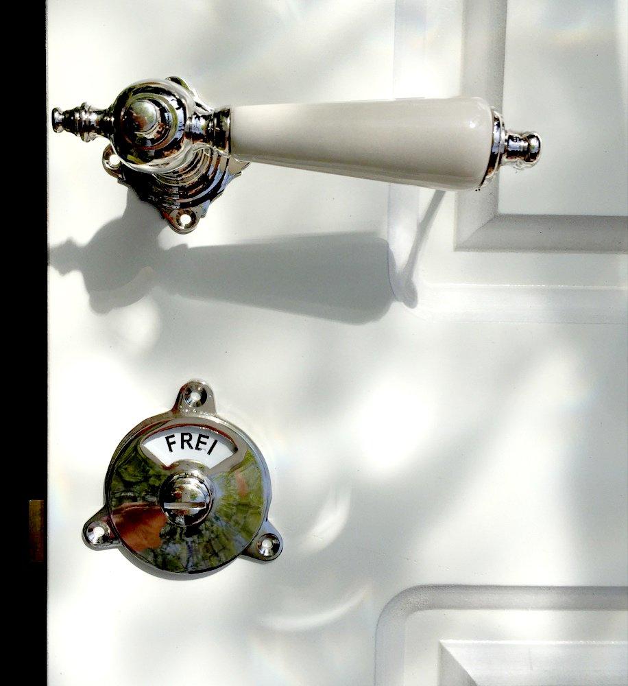 Drehverschluss Frei+Besetzt WC-T/ür Nickel-Beschl/äge Antikas Schlie/ßer f/ür Toilettent/ür