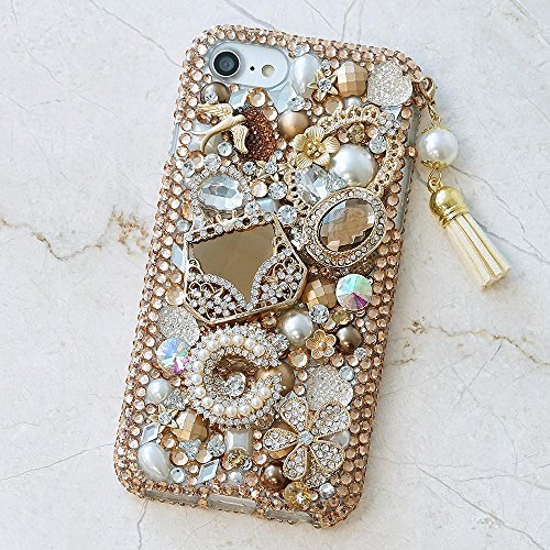 iPhone XR Case, Bling Genuine Copper Crystals Vintage Diamond Gold Purse Pearls Tassel Charm Sparkle Easy Grip Protective Case Cover [by Luxaddiction]