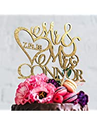 Mr and Mrs Wedding Cake Topper with Customizable Date, Lastname and Color- Design - 1