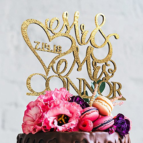 - Mr and Mrs Personalized Unique Custom Wedding Cake Topper with Customizable Last name Date and Color (CT-1)