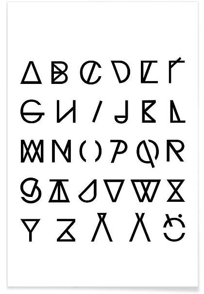 juniqe® carteles 20 x 30 cm alfabeto y letras blanco y negro ...