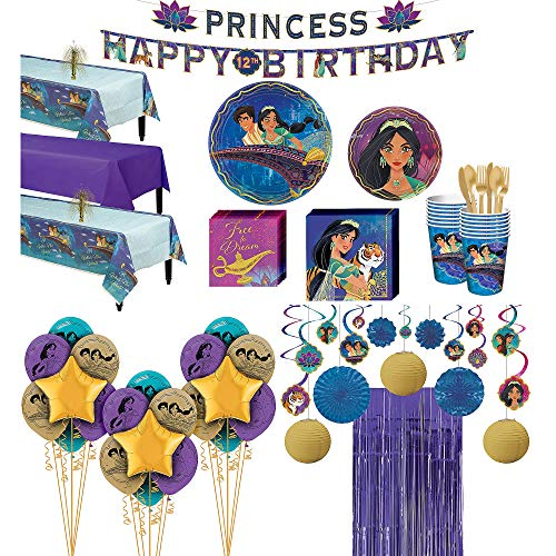 Party City Super Aladdin Party Supplies for 24 Guests, 176 Pieces, Includes Tableware and Decorations