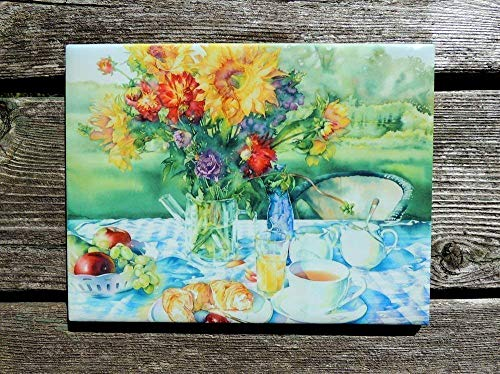 (Ceramic Art Tile - Floral Still Life With Sunflowers Summer Watercolor Wall Art by Cheryl Chalmers)