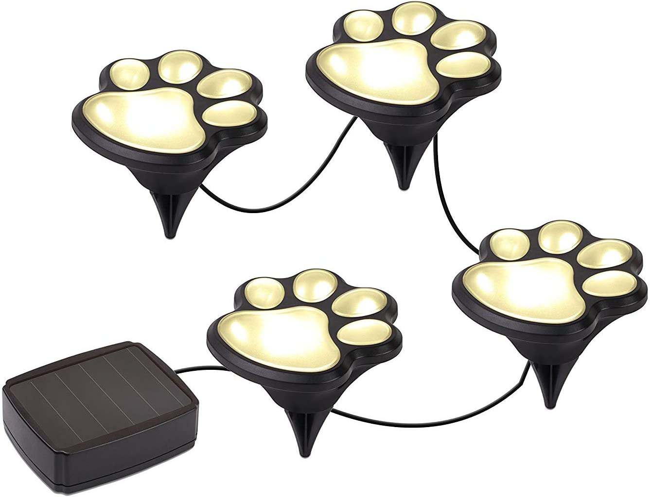 Feadem 4pcs White LED Light Solar Decorative Paw Print Garden Lights - Solar Powered Paws Home and Garden Walkway Lighting Outdoor Decor, LED Path Lamp