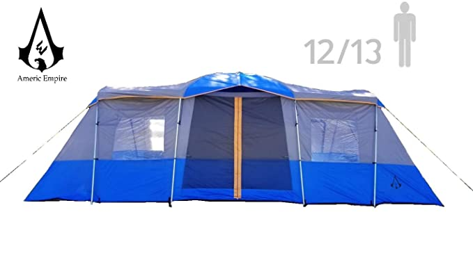 Americ Empire Cabin Instant Tent with 3 Room XL (21ft x 10ft). Huge Family Tents for Camping 13-Person Waterproof. Large Fits Up to 6 Queen Beds. Easy Assembly with Mosquito Mesh-Blue