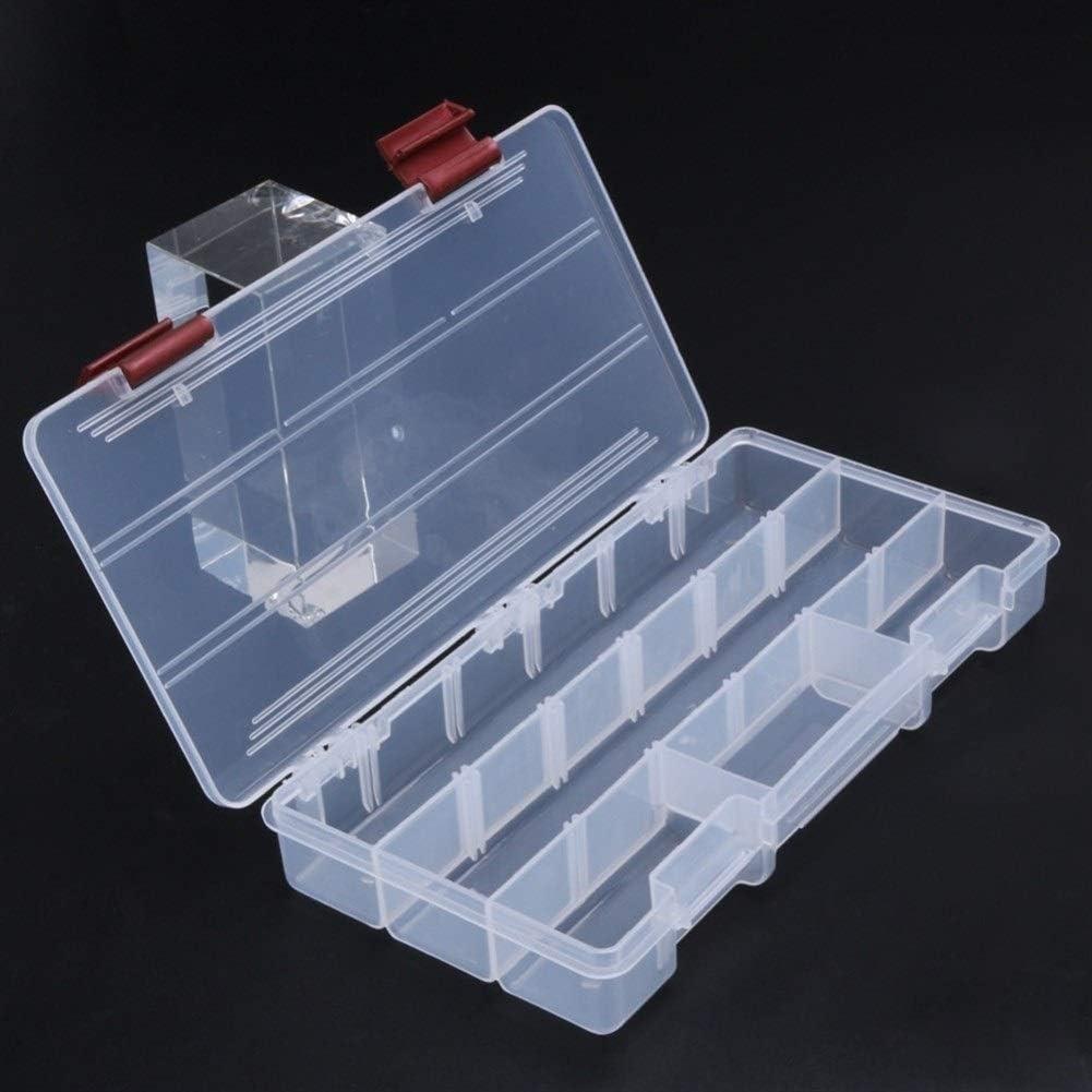 HNXCBH Durable 5 Transparent Visible P/êche Compartments Plastique Tackle Box Leurre Bo/îte de Rangement Case Outil Poisson Boite De Rangement Peche