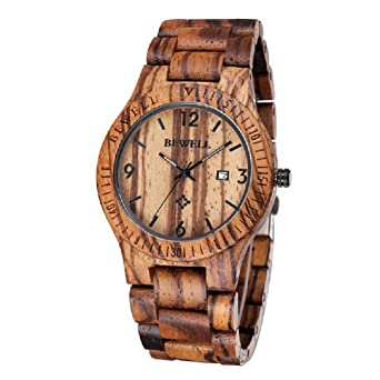 bewell coffee color maple wooden men watches quartz wood watch with calendar - Color Watches