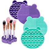 DaveandAthena 2 Pack Makeup Brush Cleaner Mat and Drying Rack, 2 in 1 Silicone Brush Cleaner Dryer Tray Brushes Drying Rack Holder Portable Bear Shaped Cosmetic Brush Cleaner Pad, Blue and Purple