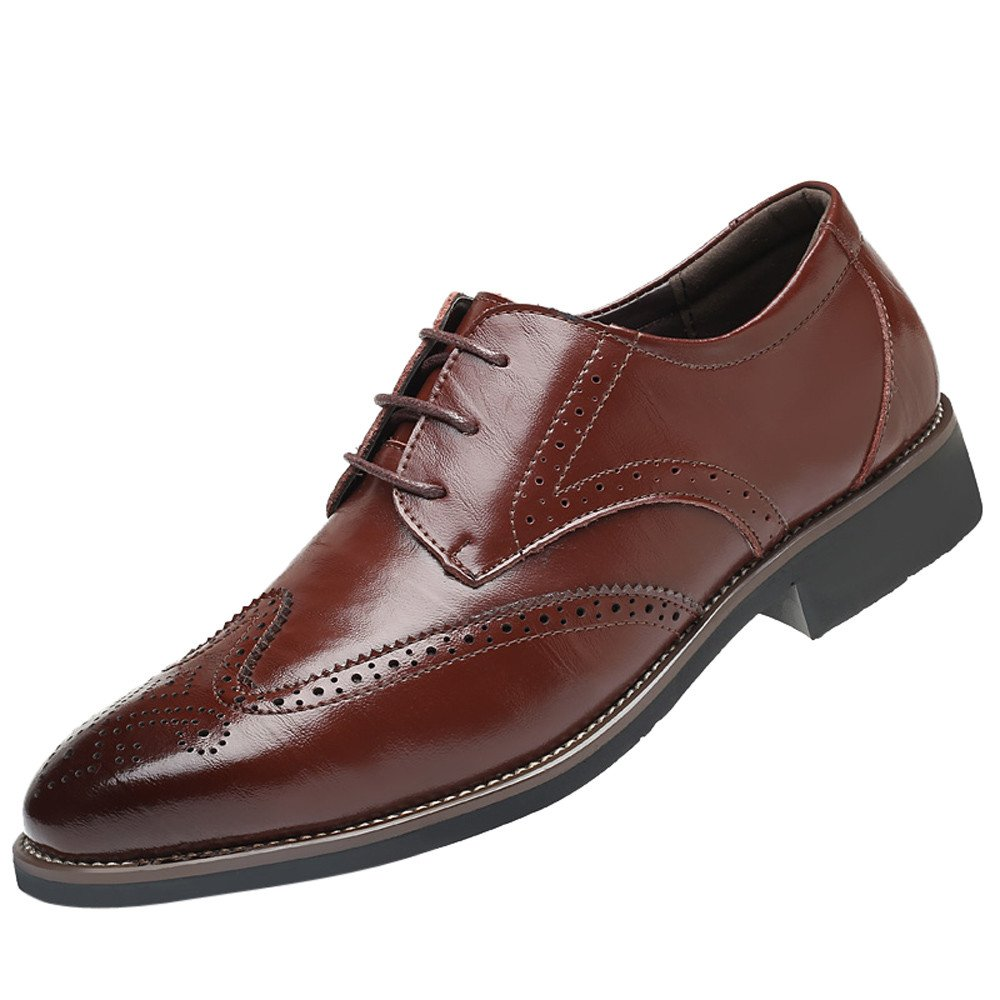 【MOHOLL】 Men's Prince Classic Modern Formal Oxford Wingtip Lace Up Dress Shoes Wine by ✪ MOHOLL Shoes ➤Clearance Sales