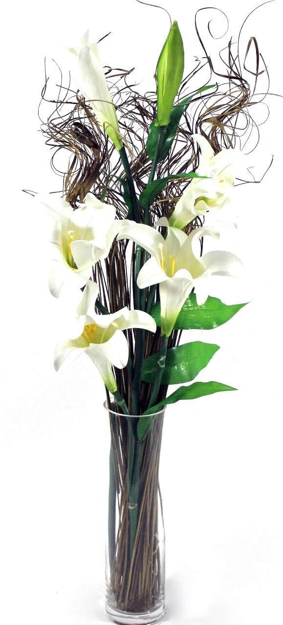 Fiori artificiali con stelo fino a 100 cm, colore: bianco/panna, con fogliame decorativo incluso, da mettere subito in vaso (colori assortiti), 6 gigli color panna Link Products