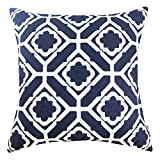 Decorative Pillow Cover - SLOW COW Cotton Embroidery Pillows Decorative Throw Pillows, Invisible Zipper Navy Floral Pillow Cover Cushion Cover for Living Room, 18x18 Inch, 1PC.