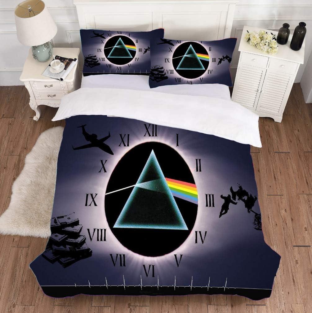 3D Digital Print Pink Floyd m/úsica Rock lecho Patrones geom/étricos de Microfibra Suave edred/ón y Fundas de Almohada Cubierta,8,135x200cm2piece UMOOIN 2020Pink Floyd Duvet Cover Set de 3 Piezas