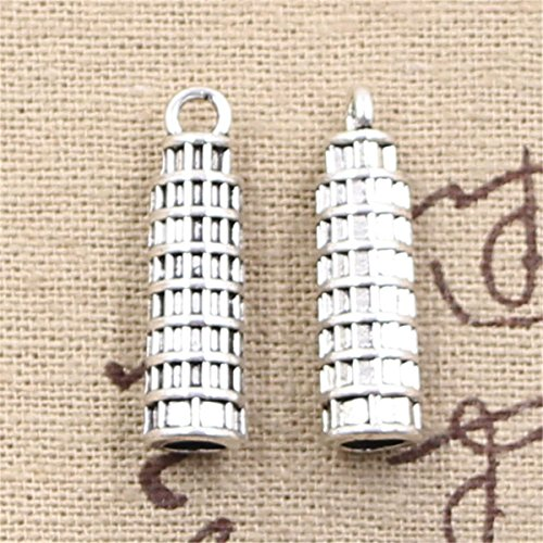 20pcs Charms Leaning Tower of pisa Italy 25x7mm Antique Making Vintage Tibetan Silver Zinc Alloy -