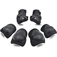 Knee Pads, Elbow Pads Wrist Guards [Upgraded Vistion 2.0] Protective Gear Set for Skateboard,Biking, Riding, Cycling and Multi Sports, Scooter, Bicycle, Rollerblades (Kids, Black)