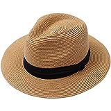 Lanzom Men Wide Brim Straw Foldable Roll up Hat Fedora Summer Beach Sun Hat UPF50+ (Style B-Khaki, Large Size:Fit for 23'-23.6')