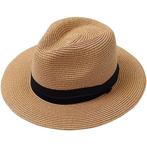 837ac531608 Lanzom Men Wide Brim Straw Foldable Roll up Hat Fedora Summer Beach Sun Hat  UPF50+ (Style B-Khaki