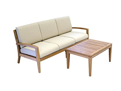 Amazon Com Ohana Teak Patio Furniture 3 Seater Conversation Set