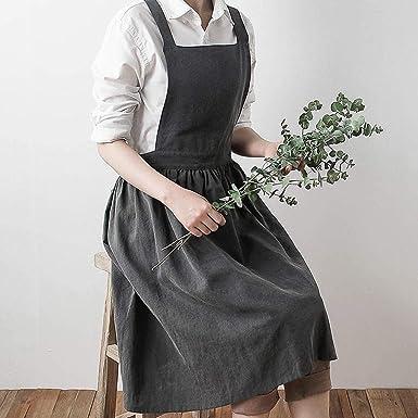 a0b6ae7824 Women Pinafore Dress Home Cooking Florist Cute Bib Apron Pinafore Dress   Amazon.co.uk  Business