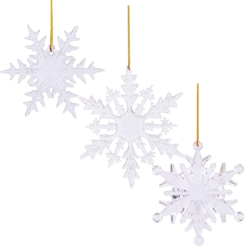 Beurio Christmas Decorations Snowflakes Tree Ornaments, 12 pcs Acrylic