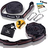 ONE DAY SALE!!! Hammock Straps For Tree By Nature Sunrise –XL Heavy Duty Easy To Set Adjustable hanging straps- 3 Bonuses!!! Carabiners & Survival Gadget & E-BOOK