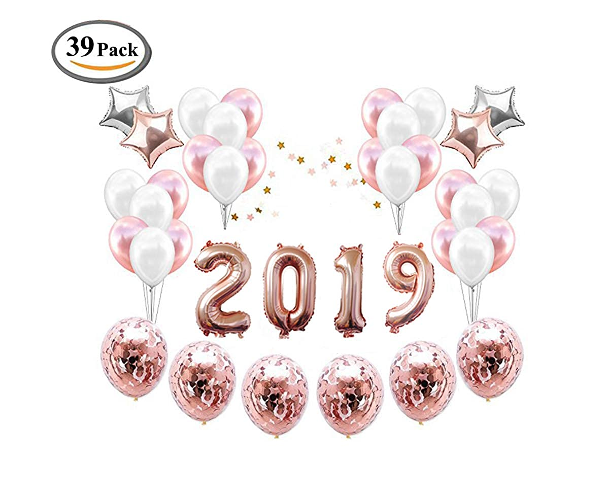 ICheap 2019 Confetti Latex Balloons Rose Gold Decorations, 40inch Number 2019 Balloons for New Year Eve Festival Party Supplies, Independence Day Celebration, School Graduation Party Décor