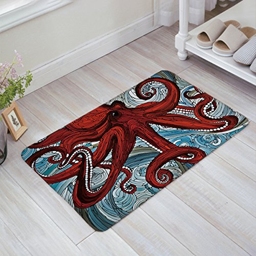 Home Art Kraken Ocean Theme Red Giant Octopus Tentacles In The Oceans Oil Painting Door Mats Kitchen Floor Bath Entrance Rug Mat Absorbent Indoor Bathroom Decor Doormats Rubber Non Slip (Giant Red Octopus)