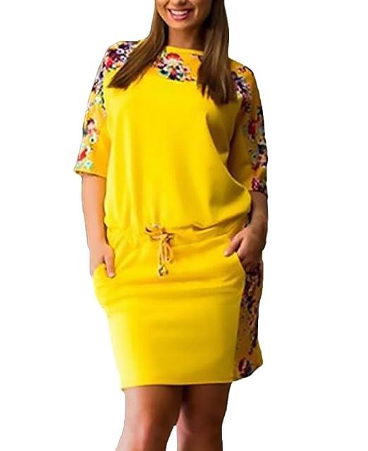 Vestidos Mujer Cortos Verano Elegantes Manga Corta Cuello Redondo Moda Vintage Estampado Flores Vestidos Camiseros Vestidos