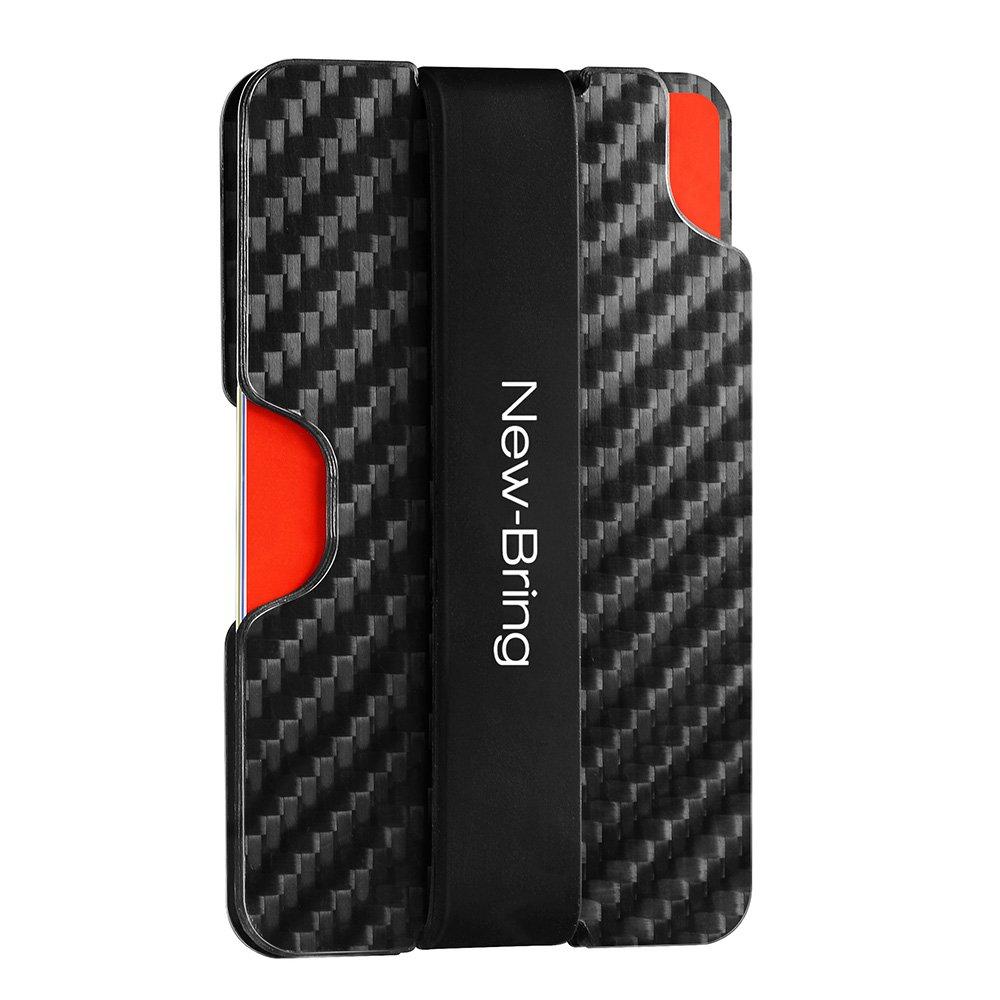 NEW-BRING Carbon Fiber Slim Card Holder Wallet & RFID Blocking Money Clip TXWQJ001