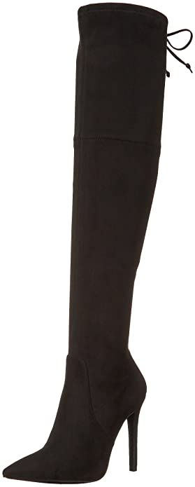 GUESS Womens Akera Pointed Toe Over Knee Fashion Boots Burgundy Size 9.5