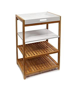 Küchenregal  osoltus Küchenregal Badregal Bambus und weiß lackiertem Holz 112282 ...