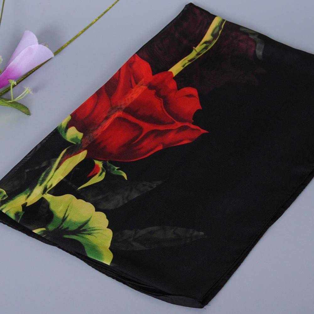 Huhu833 Mode Damen Rose Druck Schal Lange Weiche Wrap Schal Damen Schal Chiffon Schal Schals 160 50CM