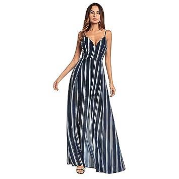 YAN Vestido de Mujer Vestidos de Las Mujeres Gasa Raya Irregular Split Sexy Sling Vestido Largo