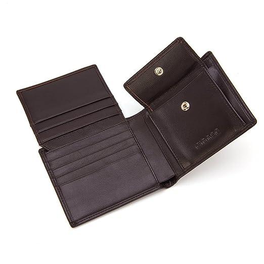 986062b8e3de Amazon.com: Gionar Men's Coffee Color Cowhide Leather Wallet with ...