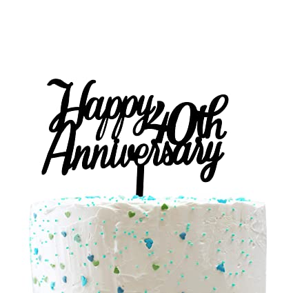 Amazon.com: Decoración para tarta de 40 aniversario, 40 ...